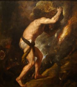 Sisyphus painting by Titian